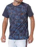 Camiseta Manga Curta Camuflada Masculina Azul