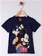 Camiseta Manga Curta Disney Infantil para Menino - Azul Marinho