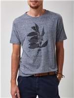 Camiseta Manga Curta Estampada Azul Tamanho P