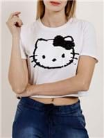 Camiseta Manga Curta Feminina Hello Kitty Branco