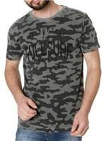 Camiseta Manga Curta Masculina Camuflada Cinza