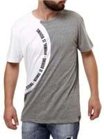 Camiseta Manga Curta Masculina Fido Dido Cinza/branco