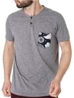 Camiseta Manga Curta Masculina Vels Cinza Claro