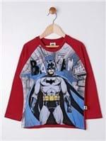 Camiseta Manga Longa Batman Infantil para Menino - Vermelho