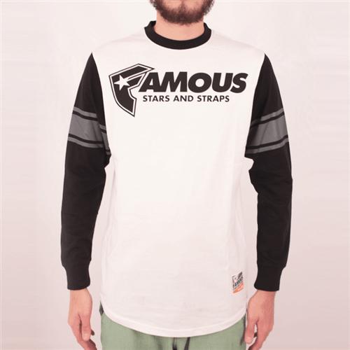 Camiseta Manga Longa Famous Straps Ls Branco/preto P