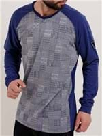 Camiseta Manga Longa Masculina Dixie Cinza/azul