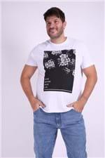 Camiseta Masculina Estampa Floral Plus Size Branco P