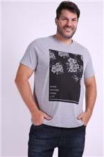 Camiseta Masculina Estampa Floral Plus Size Cinza G