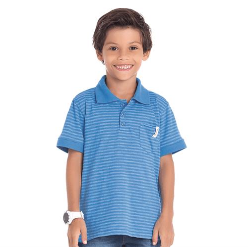Camiseta Polo Cata-Vento Infantil Listrado Azul 04