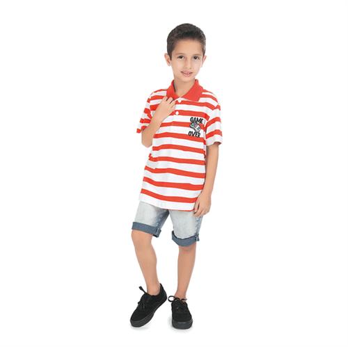 Camiseta Polo Infantil Abrange Game Over Listrado Sortidas 04