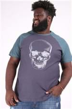 Camiseta Raglan Caveira Plus Size Cinza Chumbo P
