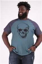 Camiseta Raglan Caveira Plus Size Verde P