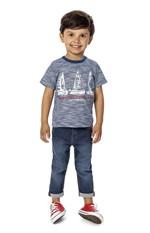 Camiseta Rajada Menino Malwee Kids Azul - 1
