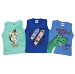 Camiseta Regata Bebê Masculina Kit com 3 Unidades Verde Claro, Azul Royal e Azul Jeans-1