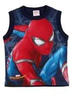 Camiseta Regata Spider Man Infantil para Menino - Azul Marinho