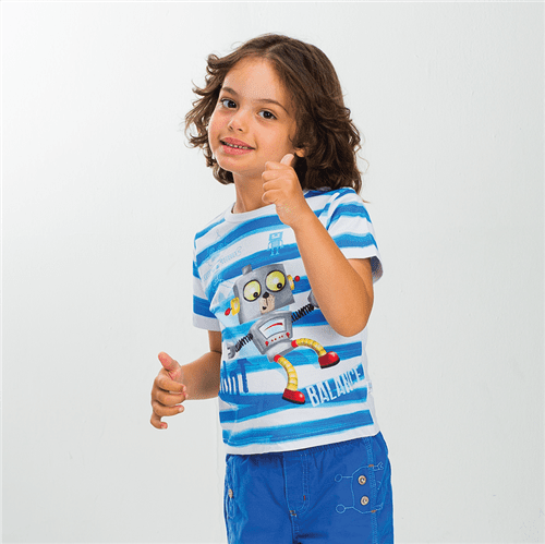 Camiseta Robô Equilibrista Camiseta Robo Equilibrista List. Azul e Branco/01