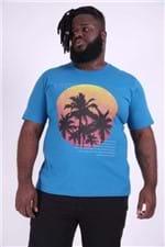 Camiseta Silk Coqueiro Plus Size Azul P