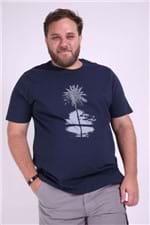 Camiseta Silk Noite Plus Size Azul Marinho M