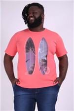 Camiseta Silk Prancha de Surf Plus Size Coral M