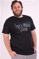 Camiseta Silk Seeyou Soon Plus Size Preto M