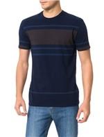 Camiseta Slim Calvin Klein Listrada Azul Escuro - PP