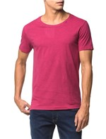 Camiseta Slim Decote Amplo Estampa Costa - Rosa Escuro - PP