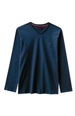 Camiseta Slim Decote V Enfim Azul Escuro - G