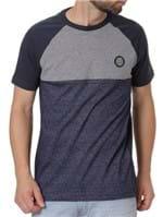 Camiseta Slim Fit Manga Curta Masculina Occy Cinza/azul Marinho