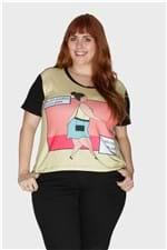 Camiseta Toni Saia Plus Size Amarelo-50