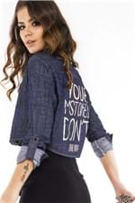 Camisete Cropped Jeans com Lettering CA0201 - Kam Bess