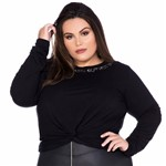 Camisetinha com Nó Basic But Not Basic Camisetinha Plus Size com Nó Basic But Not Basic