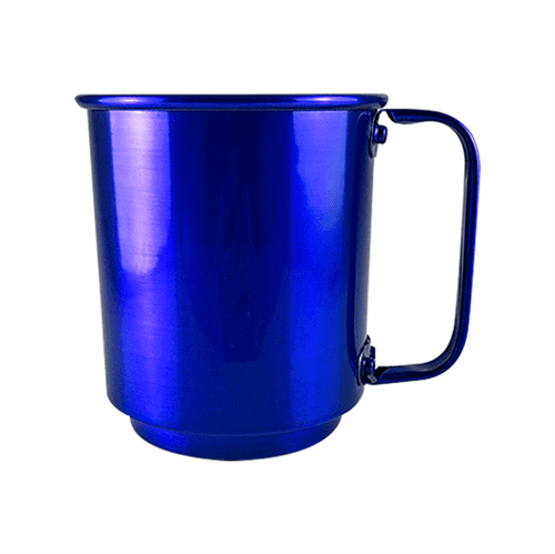 Caneca de Alumínio para Sublimação, Adesivo e Transfer Laser na Cor Azul Metálico - 400ml