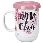 Caneca de Porcelana com Infusor Amo Chá