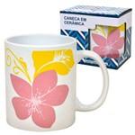 Caneca em Ceramica Flores Rosas 330 Ml