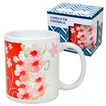 Caneca em Ceramica Flores Vermelhas 330 Ml