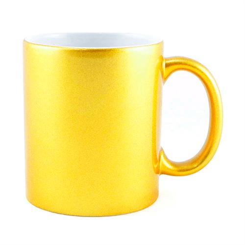 Caneca para Sublimação de Cerâmica Metalizada Dourada