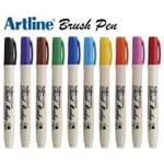 Caneta Brush Pen Artline Tilibra Kit 9 Cores Profissional