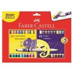Caneta Hidrográfica Bicolor com 24 Unidades com 48 Cores Ref.150624 Faber-castell