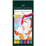 Caneta Marcador Artístico Faber Castell Pitt Estojo 006 Cores Basicas 167103n