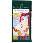 Caneta Pincel Pitt Estojo com 6 Tons Básico Ref.167103 Faber-castell