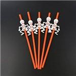 Canudo Esqueleto Halloween 5 Unidades