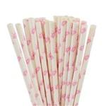 Canudo Papel Biodegradável - Estampa Coroa Rosa - C/ 20 Unds