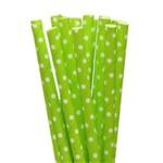 Canudo Papel Biodegradável - Verde Claro Poá Branco - C/ 20 Unds