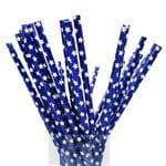 Canudos de Papel Azul com Estrelas - 25 Unidades | SJO Artigos Religiosos