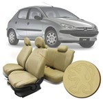Capa Banco de Couro Ecológico Peugeot 206 00 a 10 e 207 09 a 15 Bege 10 Peças Automotiva