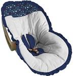 Capa Bebê Conforto Branca com Estrelas e Babado Marinho