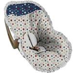 Capa Bebê Conforto Branca com Estrelas Vermelha e Azul - Soninho de Bebê