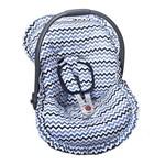 Capa Bebê Conforto Chevron Marinho e Azul 3 Peças
