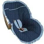 Capa Bebe Conforto Poá Azul Babado Azul Bebe - Soninho de Bebê