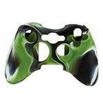 Capa Case Protetora de Silicone Gel para Controle Xbox 360 Camuflada Verde Preto e Branco Feir Fr-314m